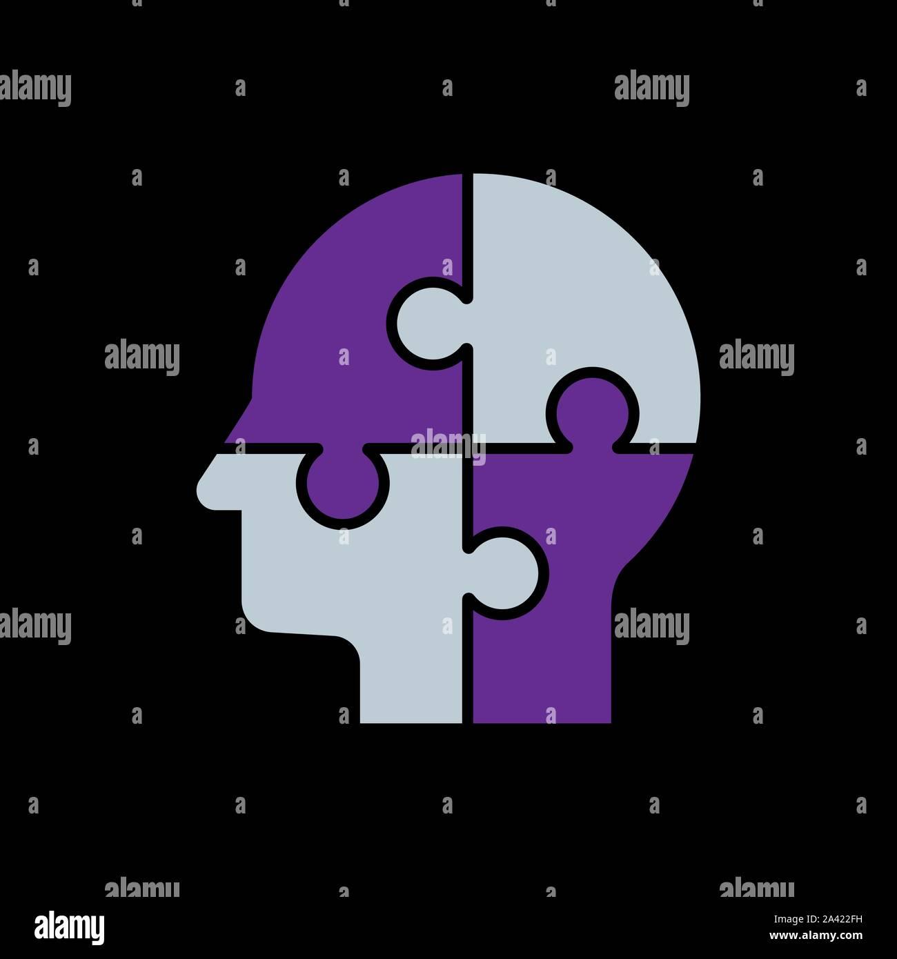 Cabeza humana con puzzles para la psicología concepto. Ilustración vectorial Ilustración del Vector