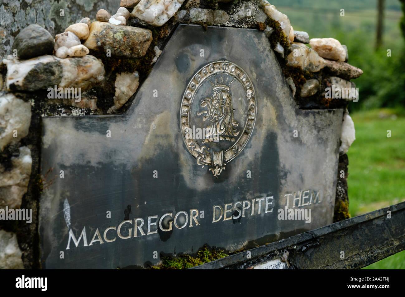 Epitaph a Rob Roy MacGregor en Balquhidder parroquia Balquihidder Stirling Escocia Stirlingshire Foto de stock