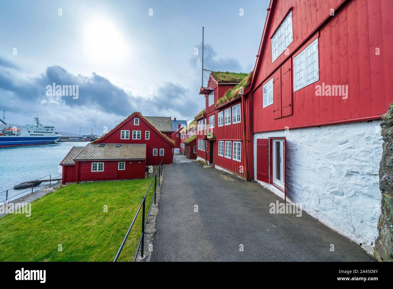 Tinganes, Old Town, Streymoy Tórshavn, Islas Feroe, Dinamarca, Europa Foto de stock