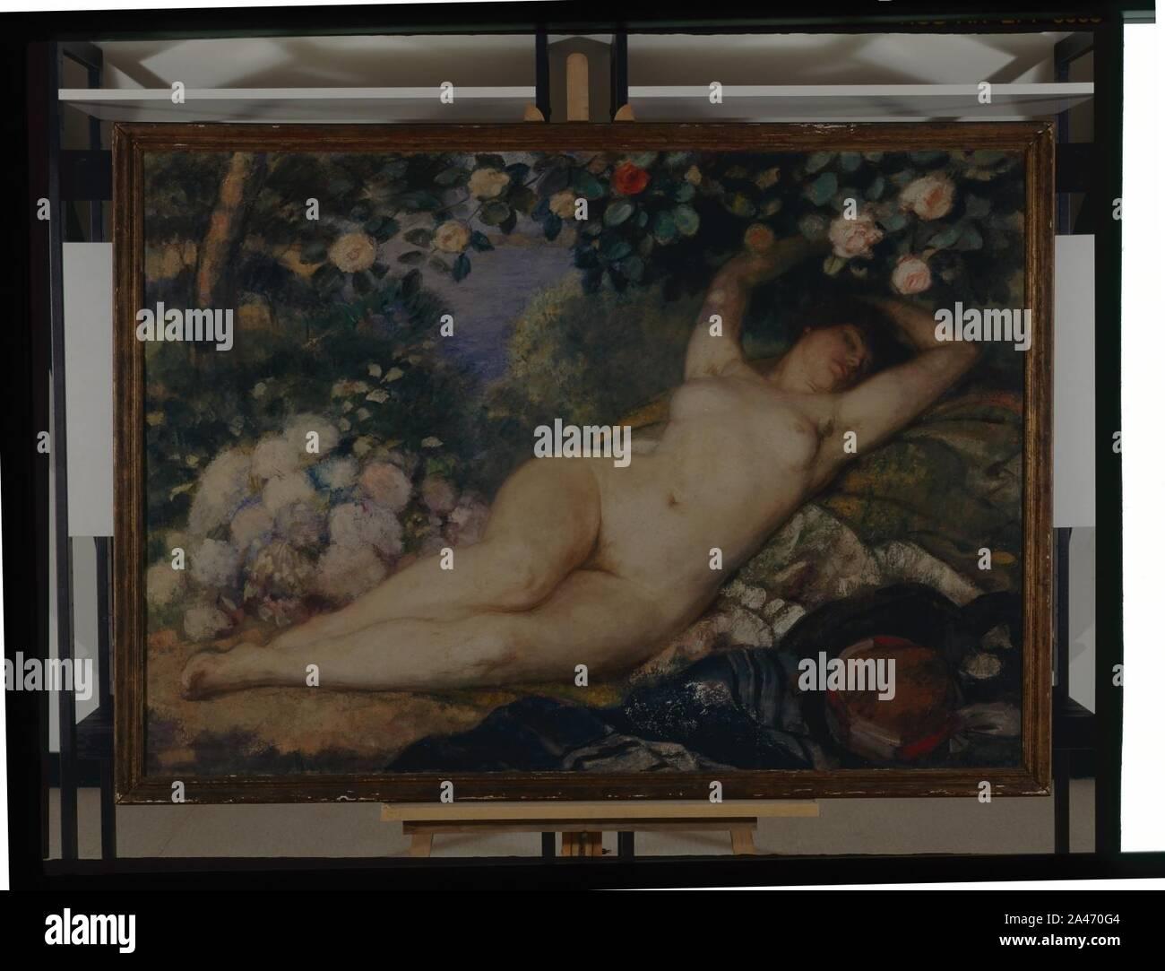 Femme nue à la rose - Adrien Wilborts - Musée d'art et d'histoire de Saint-Brieuc, DOC R 950.1.1. Foto de stock