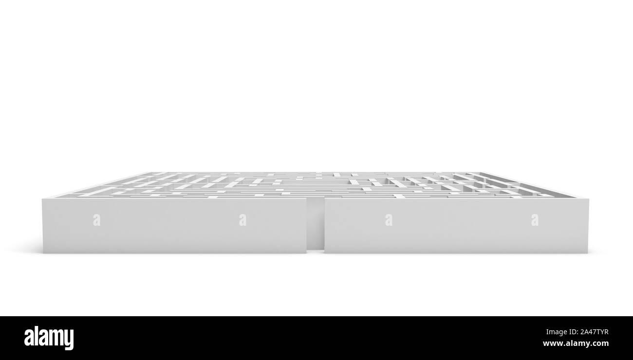 Representación 3D de un laberinto cuadrado blanco sobre fondo blanco. Laberintos y laberintos. Secretos y rompecabezas. Problemas y soluciones. Foto de stock