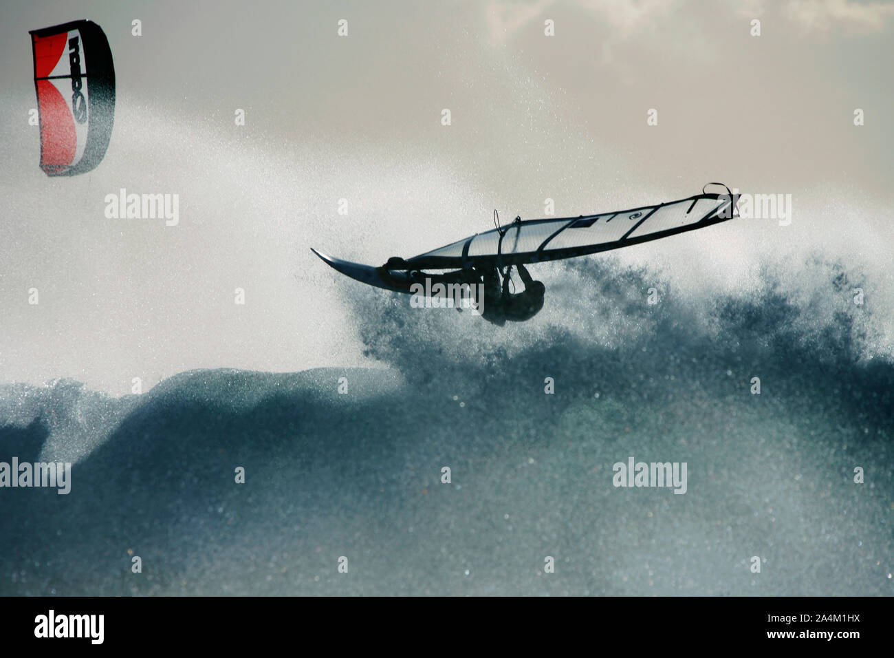 Windsurf kite en lista Foto de stock