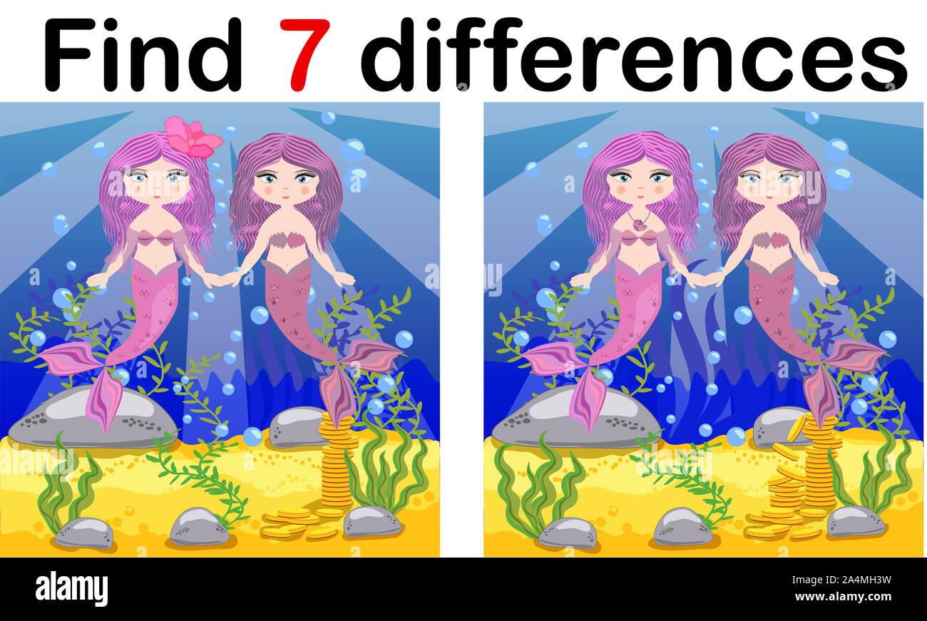 Encontrar diferencias, juegos para niños, el Mermaid bajo el agua con el estilo de dibujos animados, juego para niños de educación preescolar, la actividad de la hoja de cálculo, una tarea para la developm Foto de stock