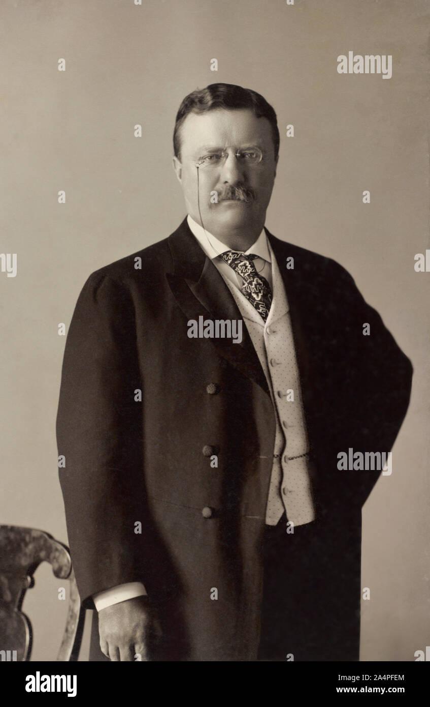 Theodore Roosevelt (1858-1919), 26º Presidente de los Estados Unidos, 1901-09 Half-Length retrato, Fotografía por Pach Bros., 11 de mayo de 1904 Foto de stock