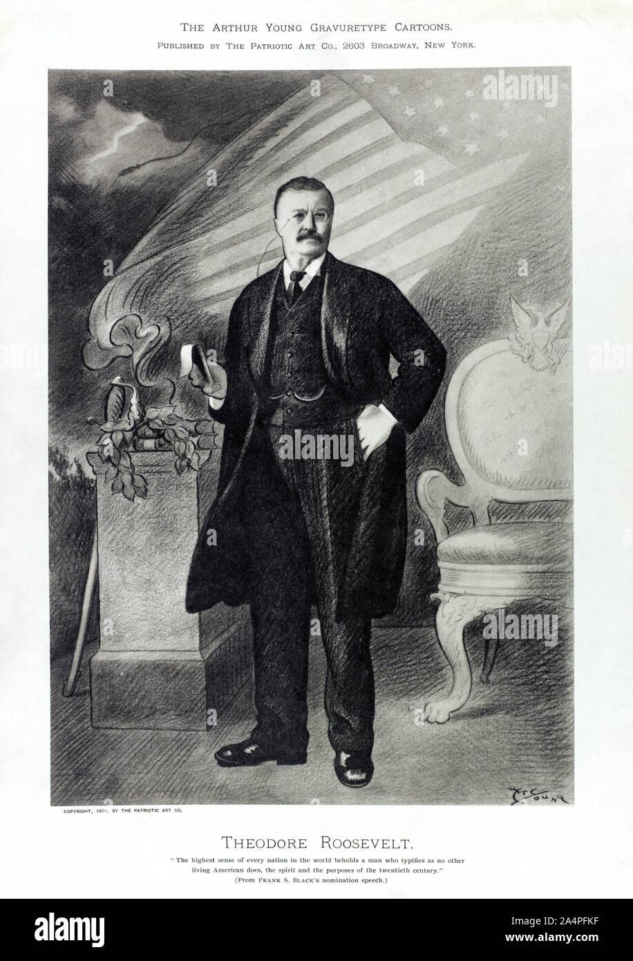 Theodore Roosevelt (1858-1919), 26º Presidente de los Estados Unidos, 1901-09 Full-Length retrato, ilustraciones por Arthur Young, Arthur Young Gravuretype caricaturas, publicada por el arte patriótico Co., 1904 Foto de stock