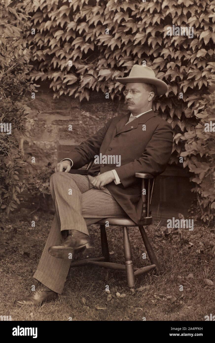 Theodore Roosevelt (1858-1919), 26º Presidente de los Estados Unidos, 1901-09 Full-Length asentado retrato como gobernador de Nueva York, agosto de 1900 Foto de stock