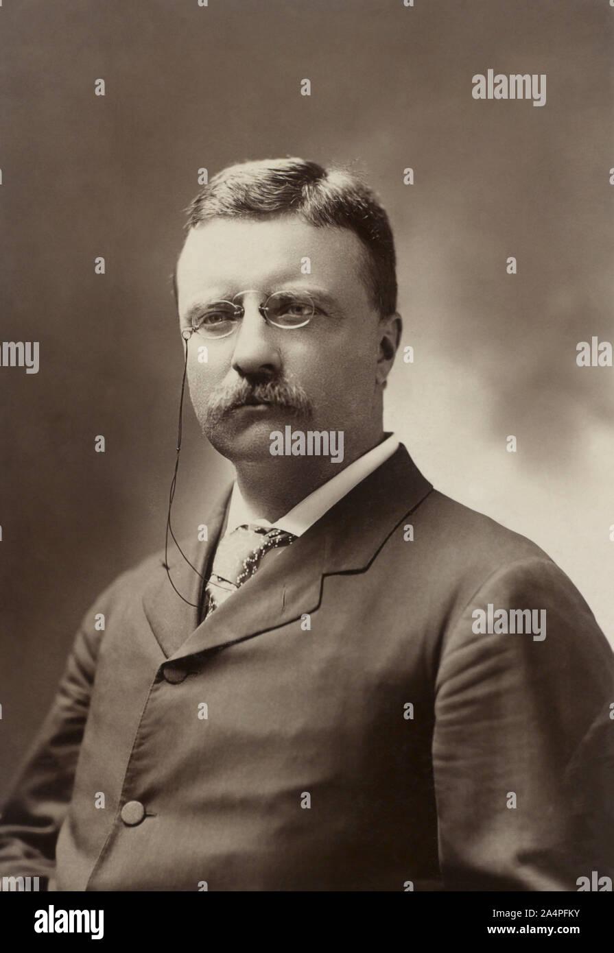 Theodore Roosevelt (1858-1919), 26º Presidente de los Estados Unidos, 1901-09 Half-Length retrato como gobernador de Nueva York, Fotografía por George Prince, julio de 1900 Foto de stock