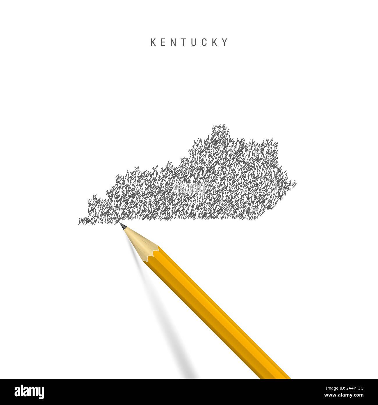 Boceto de Kentucky mapa de garabatear aislado sobre fondo blanco. Mapa dibujado a mano de Kentucky. Lápiz 3D realistas. Foto de stock