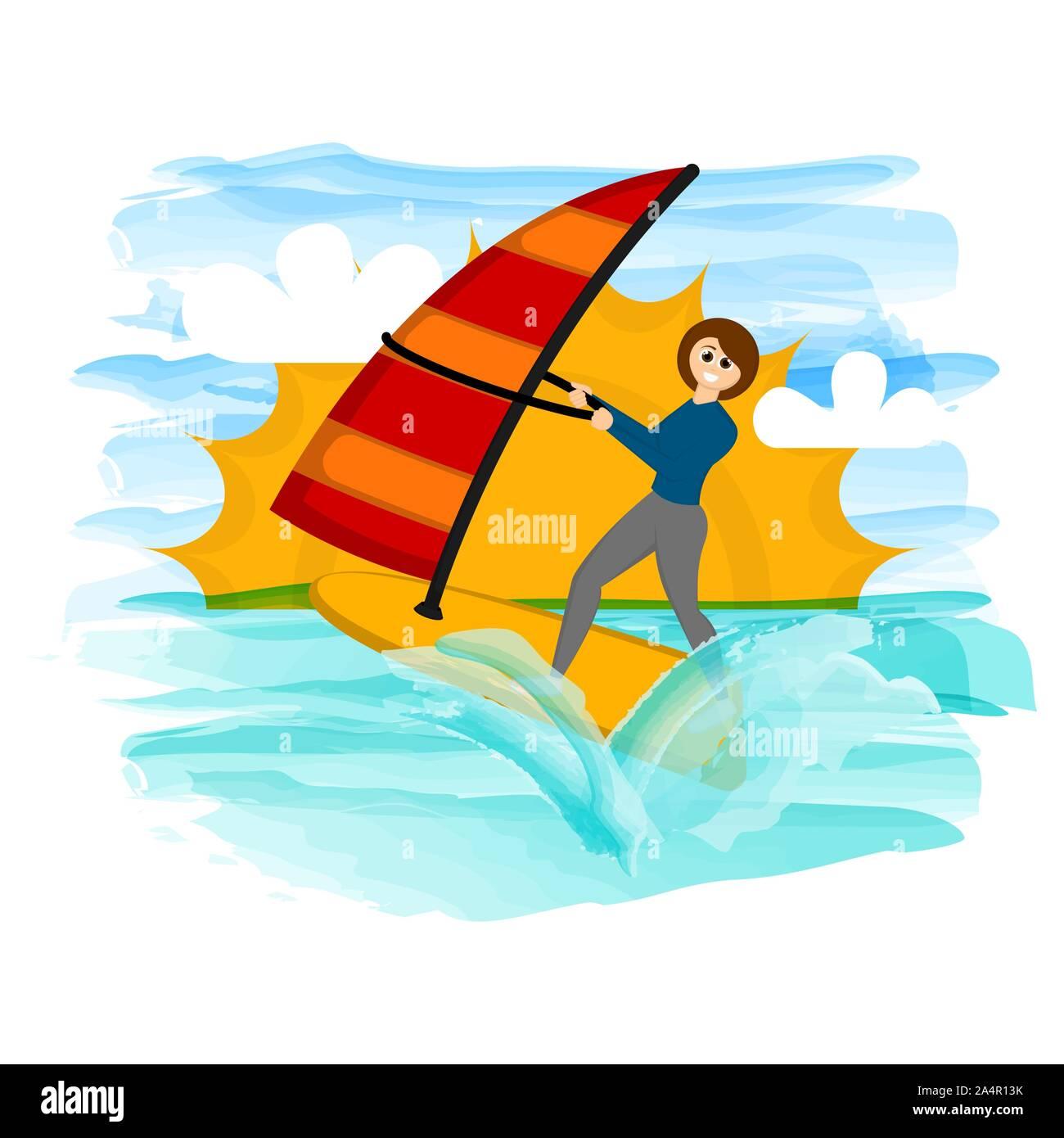 Chica haciendo windsurf en una playa tropical - Vector Ilustración del Vector