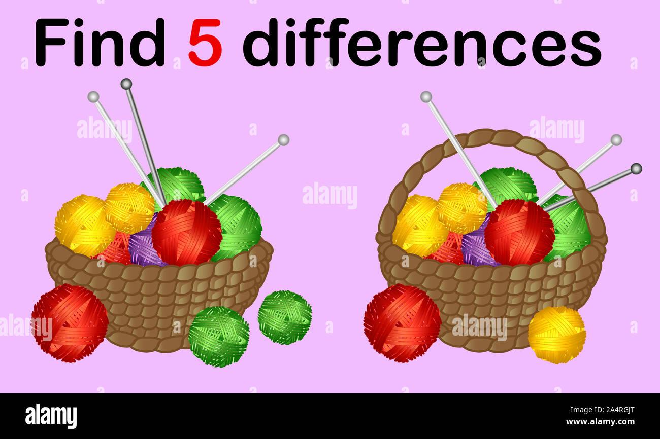 Visual juego para niños, educación. Nivel de dificultad fácil. Fácil juego educativo. Tarea y respuesta. Foto de stock