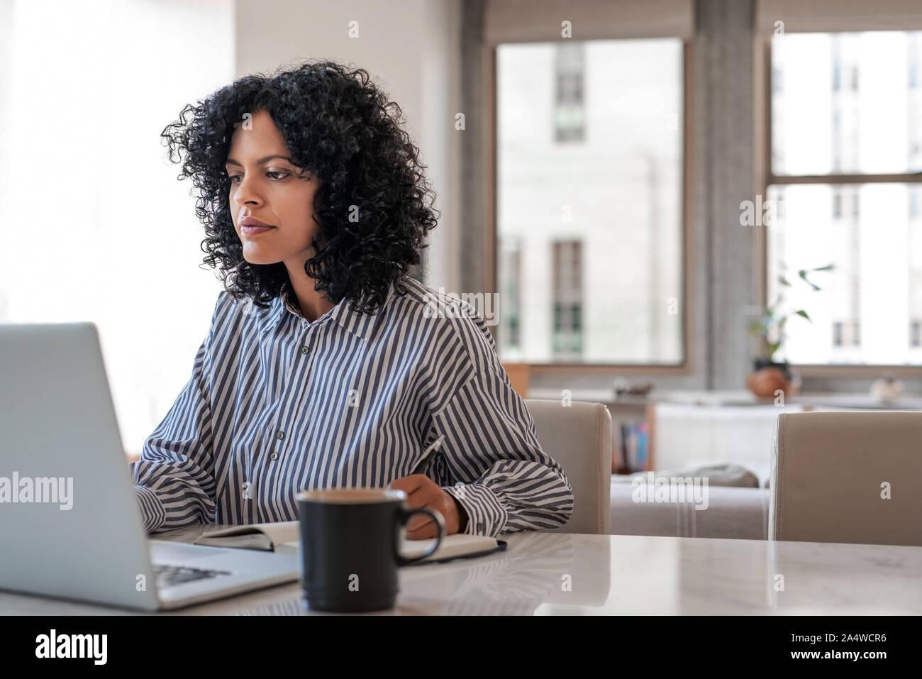 Joven empresario trabajando en un portátil en casa Foto de stock