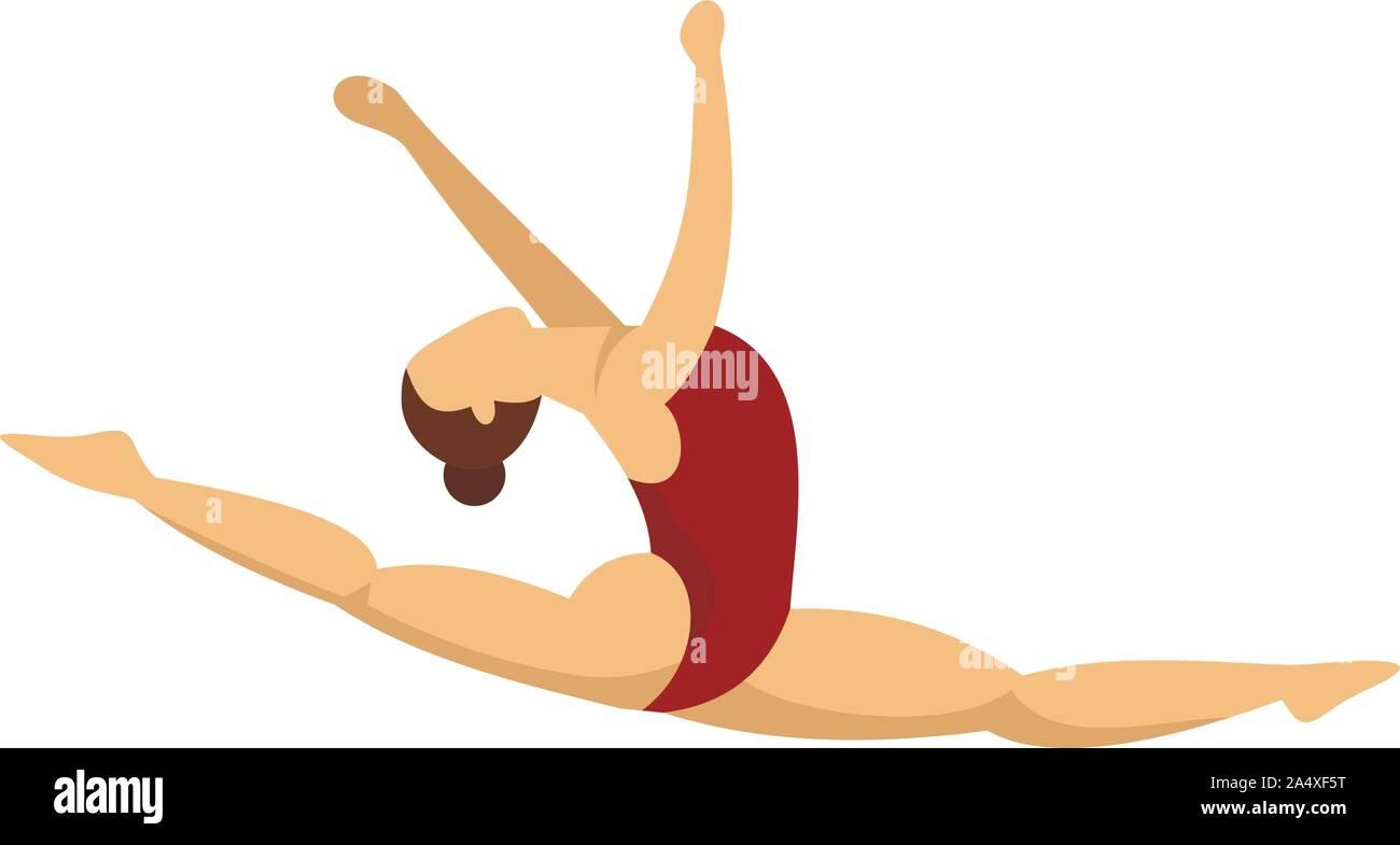Split saltar chica gimnasia icono. Ilustración plana de split saltar chica gimnasia icono vectoriales para diseño web Ilustración del Vector