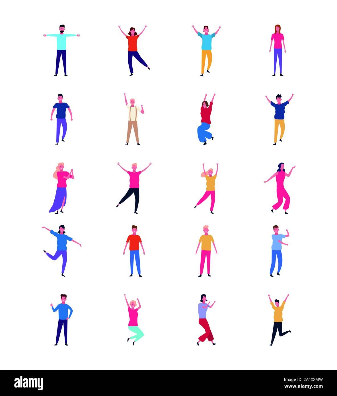 Conjunto de gente bailando y divirtiéndose Ilustración del Vector