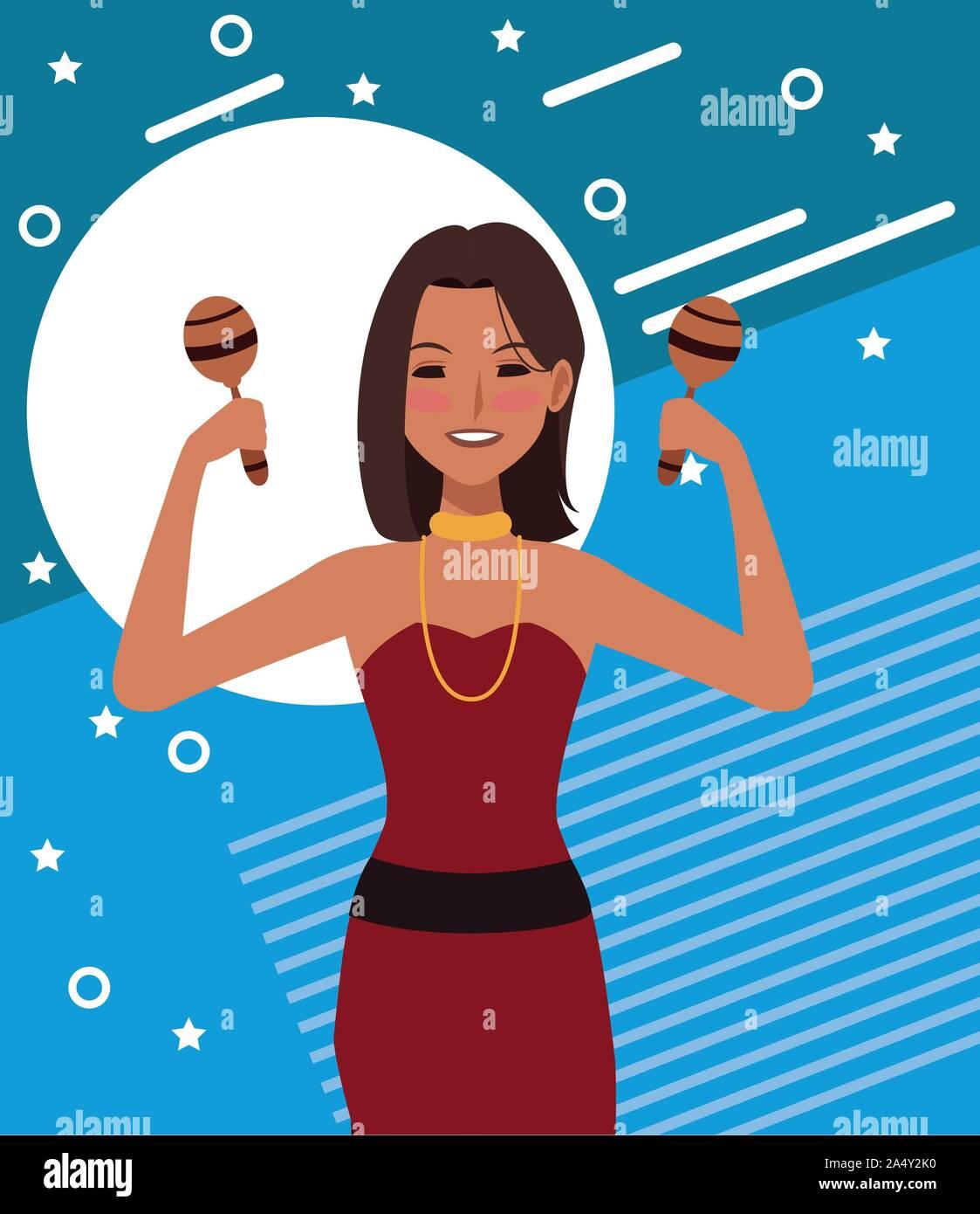 Cartoon mujer con maracas, diseño colorido Ilustración del Vector