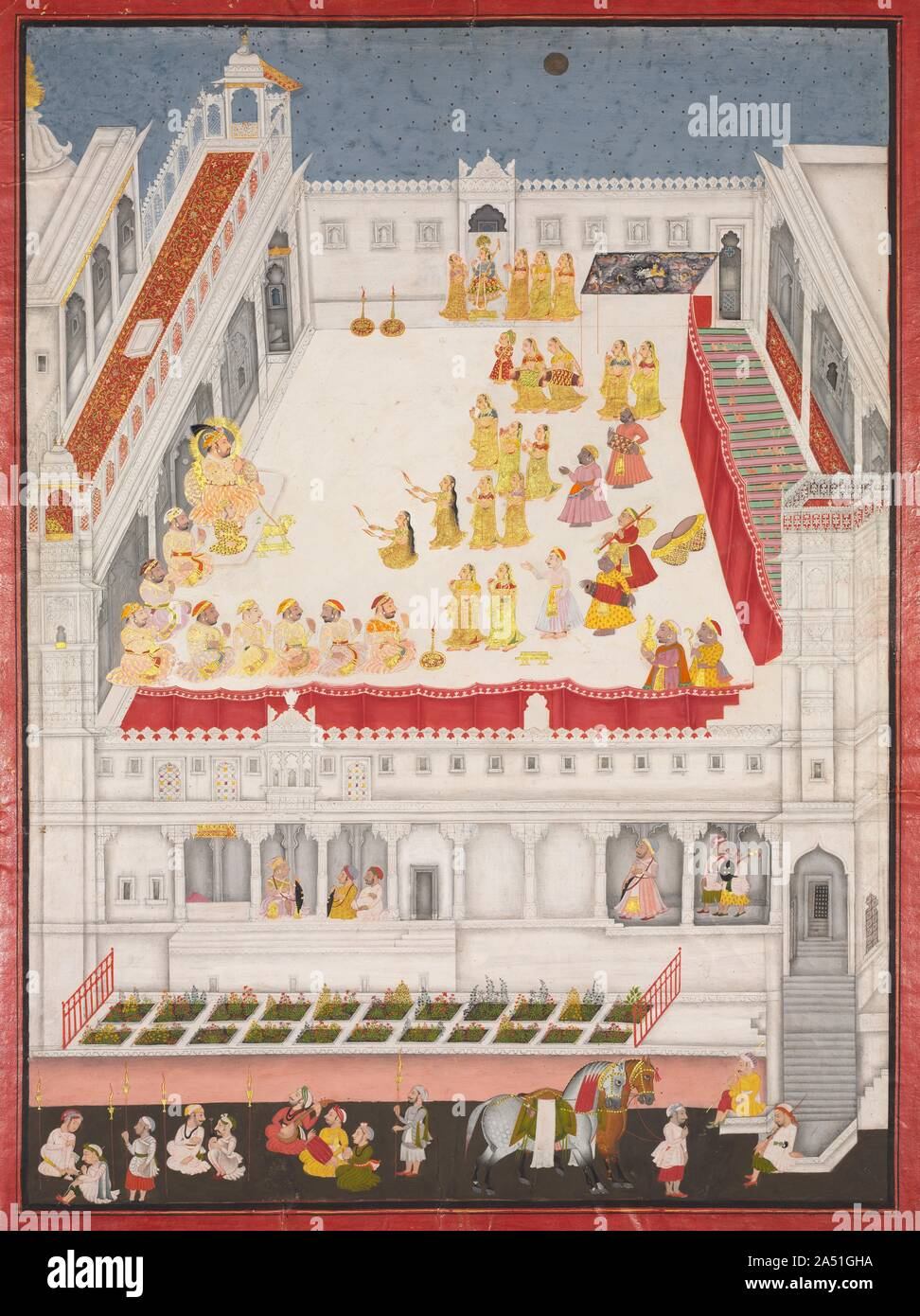 Maharajá Jagat Singh asistieron a la Raslila, 1736. Para celebrar el Año Nuevo festival de Diwali, Bailarines recrean la historia de la vida del dios hindú Krishna en un patio del palacio a la luz de las velas bajo la luna llena. El rey, un vasallo del emperador Mughal, sentada con el halo de sanción divina para su regla a la izquierda del patio, el tabaco de un narguile con forma de cabra de oro, con su joven hijo y heredero a su lado. En la parte superior de la composición, una bailarina vestida de azul, con una corona de plumas de pavo real reproduce la parte de Krishna. En la esquina superior derecha, una bóveda pintada con remolinos de nubes de tormenta s Foto de stock
