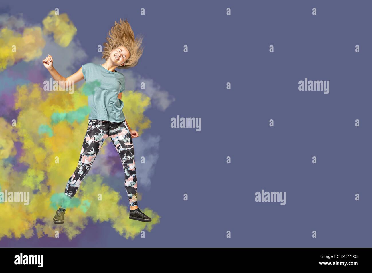 Una joven en el deporte traje de baile o gimnasia aeróbica Foto de stock