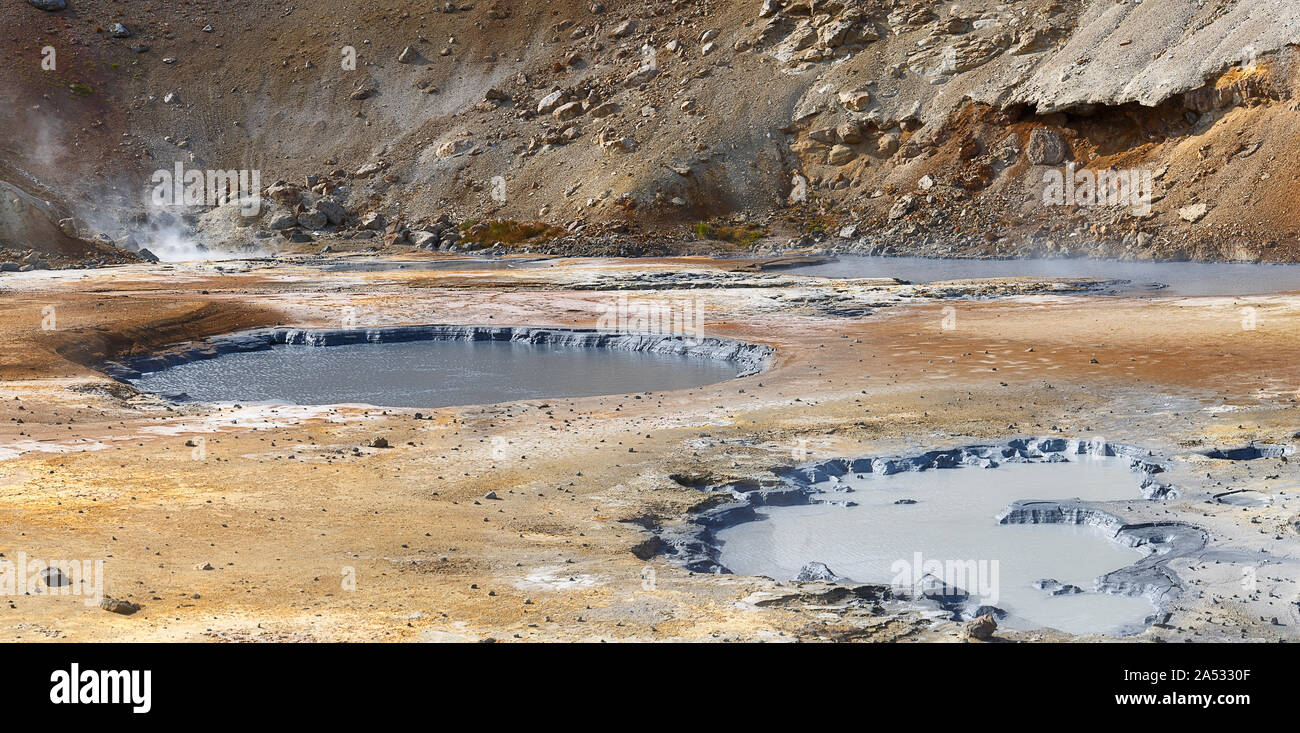 Hermosa área geotérmica en Seltun, Islandia Foto de stock