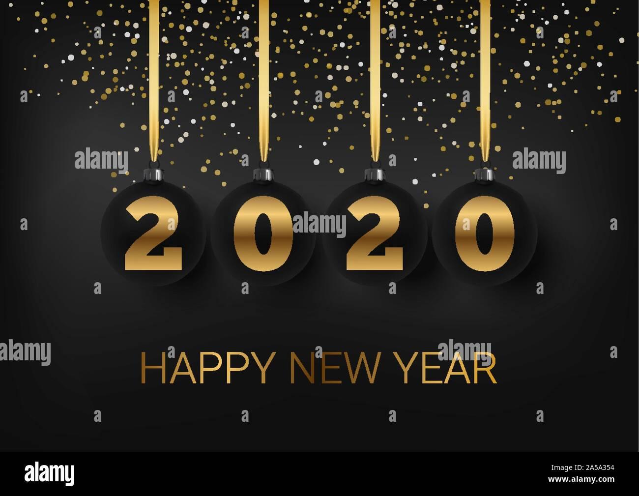 Tarjeta De Felicitación Invitación Con Feliz Año Nuevo 2020