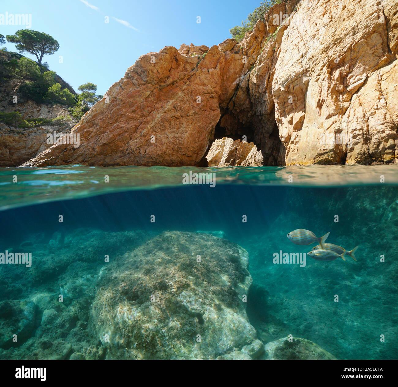 Costa rocosa con arco natural, vista dividida sobre y bajo el agua, el mar Mediterráneo, España, Costa Brava, Cataluña, Palamós, Cala Foradada Foto de stock