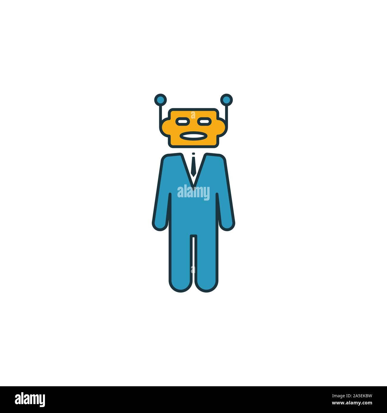 Robo-Advisors conjunto de iconos. Cuatro elementos de diferentes estilos de fintech colección de iconos. Robo-asesores creativos llenos de iconos, contorno, color y planos Ilustración del Vector