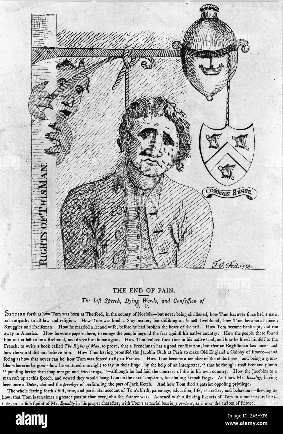 Grabado muestra agonizantes palabras y la confesión de Thomas Painev (1737-1809) antes de que él fue ahorcado. Fecha 1793 Foto de stock