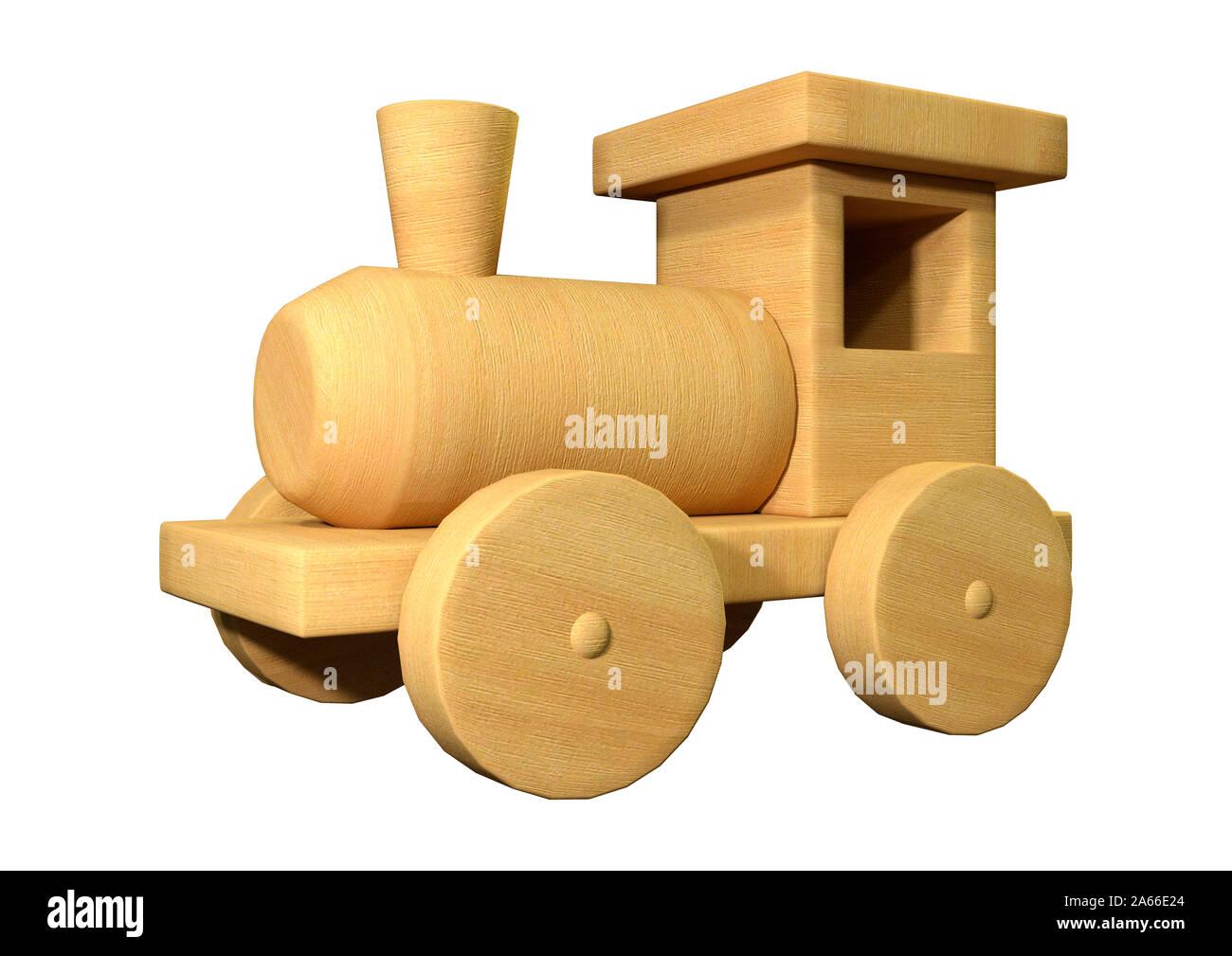 Representación 3D de un tren de juguete de madera aislado