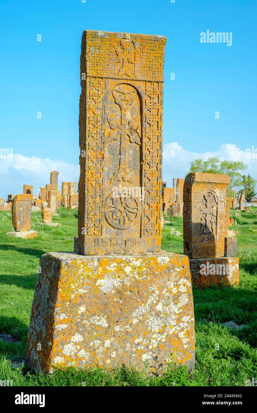 En Noratus Khachars histórico cementerio, Noraduz (Noratus), provincia de Gegharkunik, Armenia Foto de stock