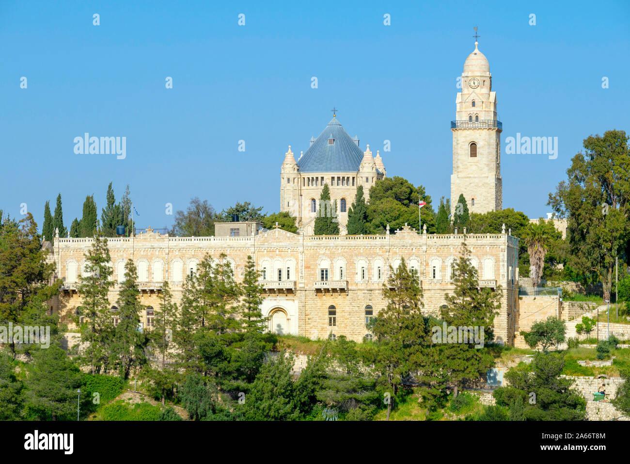 Dormición Abadía en el monte de Sión, ciudad vieja, Jerusalén, Israel. Foto de stock