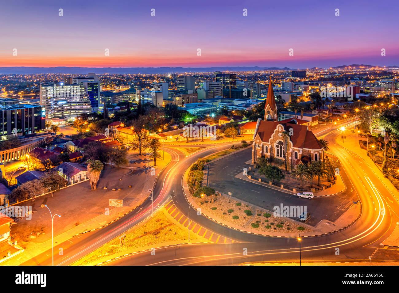 El horizonte de la ciudad de Windhoek, Namibia, Khomas, Foto de stock