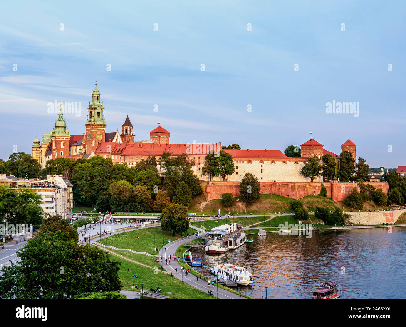 Wawal Hill y del río Vístula, vista elevada, Cracovia, Polonia Menor voivodato, Polonia Foto de stock