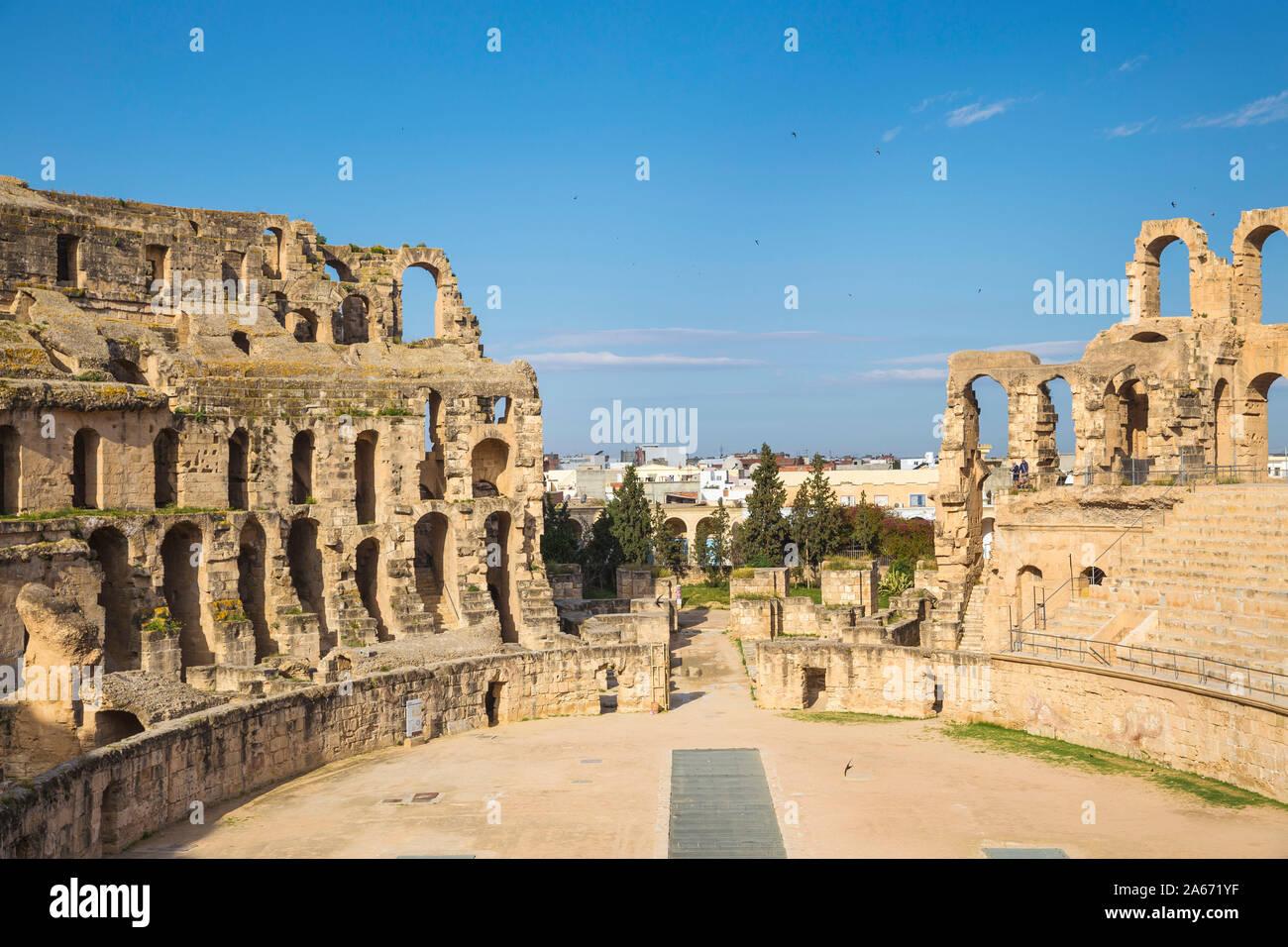 Túnez, El Jem, el Anfiteatro Romano Foto de stock