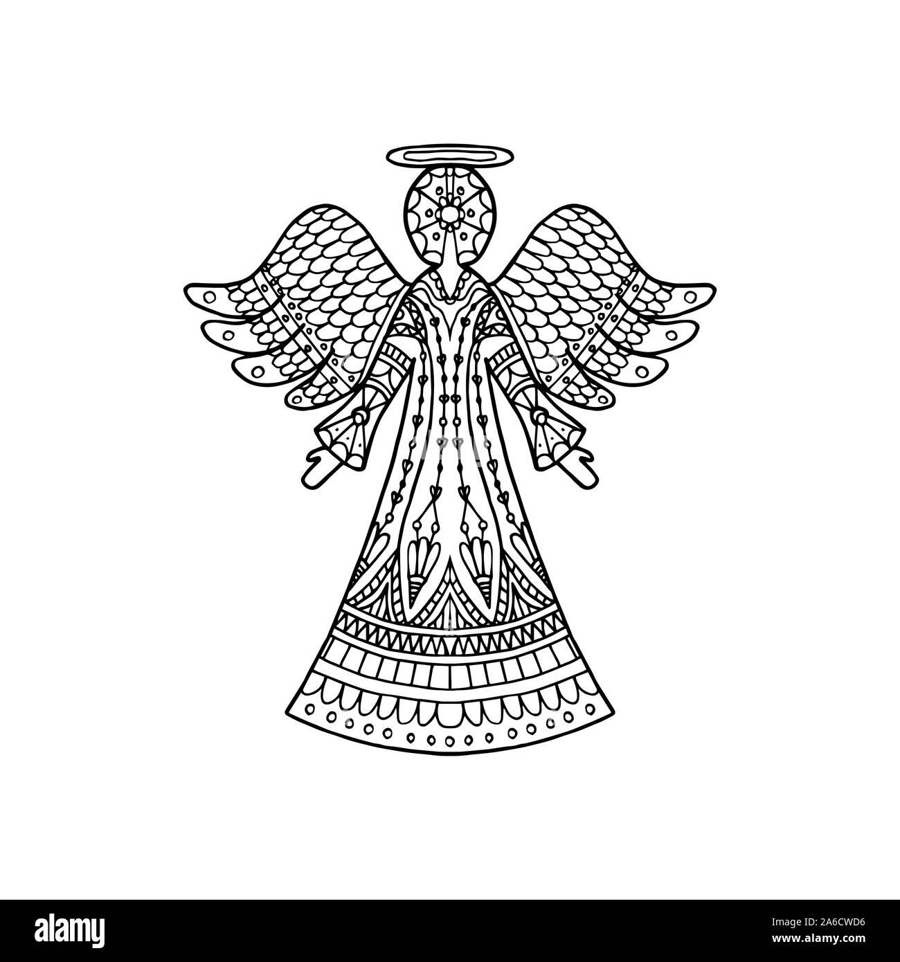 Ilustración Vectorial De Telas Angel Silueta Página De