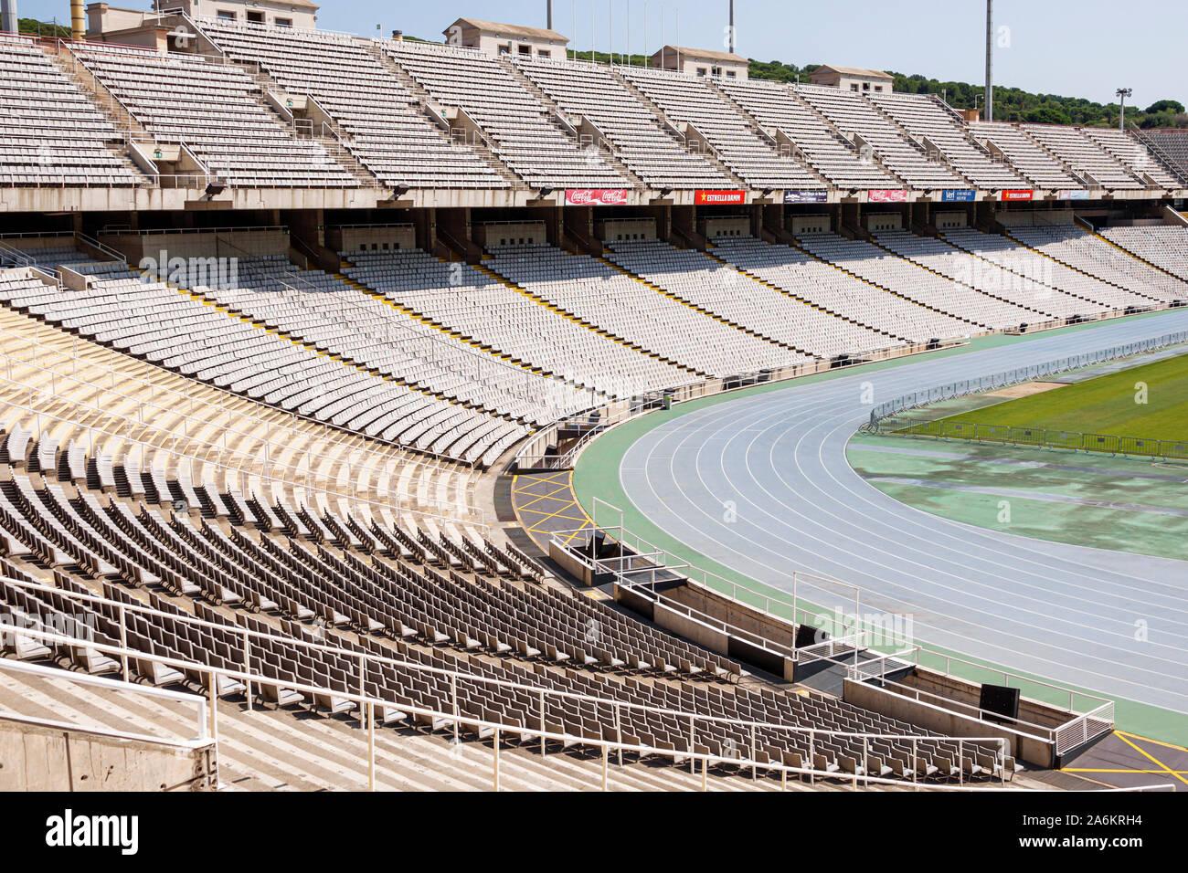 Barcelona ESPAÑA,CATALONIA HISPANICA PARC DE MONTJUIC,Stadi Olimpic Lluis Companys,Estadio Olímpico,1929 Exposición Internacional,Mirador de campo,blea Foto de stock
