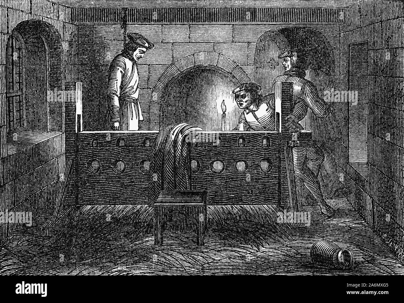 Richard Hunne fue un comerciante inglés sastre en la ciudad de Londres durante los primeros años del reinado de Enrique VIII. Tras una disputa con su sacerdote durante el funeral de su pequeño hijo, Hunne trató de utilizar los tribunales de derecho común inglés a desafiar la autoridad de la iglesia. En respuesta, funcionarios de la iglesia lo arrestaron a juicio en un tribunal eclesiástico en el requerimiento de capital de la herejía. En diciembre de 1514, mientras esperaba el juicio, Hunne fue encontrado muerto en su celda, y el asesinato cometido por funcionarios de la iglesia era sospechoso. Su muerte provocó la ira contra el clero, y meses de políticos y religiosos turmoi Foto de stock