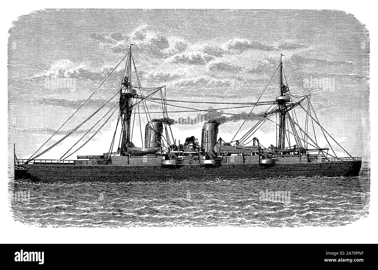 Crucero chileno Esmeralda se inició en 1883 con una cubierta blindada combinando artillería pesada, alta velocidad y bajo el desplazamiento para el cruiser misiones de patrulla rápida Foto de stock