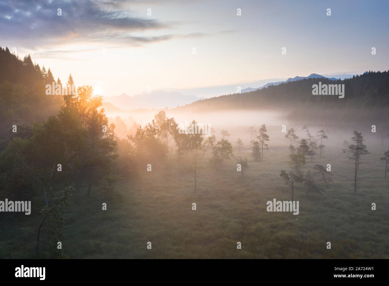 Rayos de sol al amanecer de la niebla que cubre el humedal de Pian di Gembro Reserva Natural, vista aérea, Aprica, Valtellina, Lombardía, Italia Foto de stock