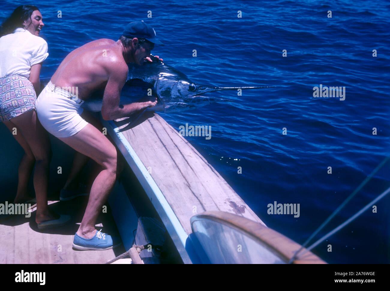 BAJA CALIFORNIA, MÉXICO - JUNIO DE 1962: el actor y ex jugador de béisbol Chuck Connors (1921-1992) y la actriz prometido Kamala Devi (1934-2010) tirar un marlin en el barco mientras estaba en un viaje de pesca alrededor de junio de 1962, en Baja California, México. (Foto por Hy Peskin) (número de registro: X8569) Foto de stock