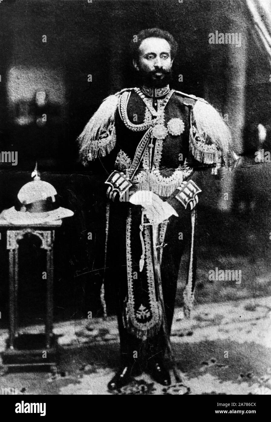 El Negus Haile Selassie en ropa de caballero, Etiopía, 30s Foto de stock