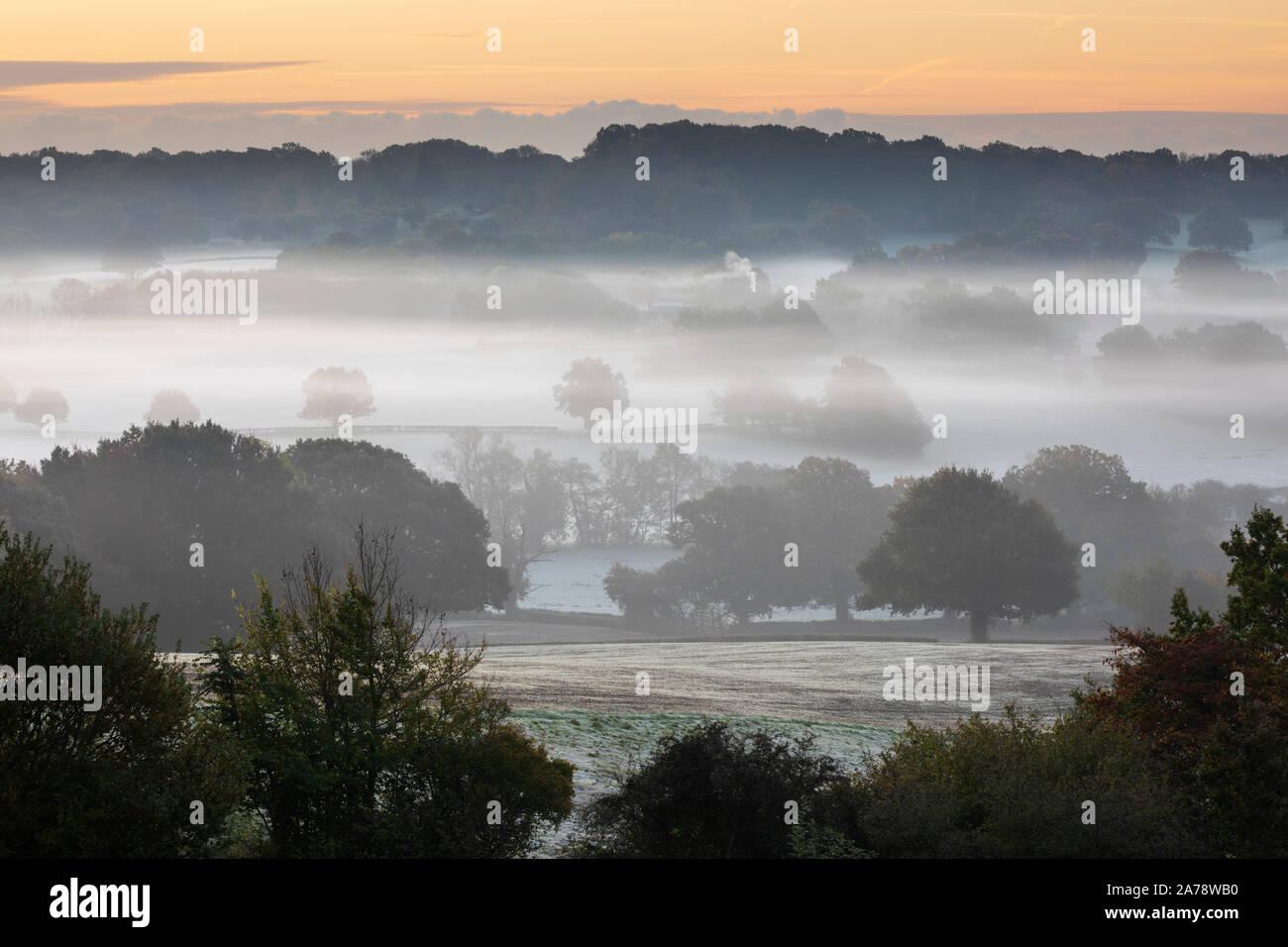 Misty High Weald paisaje al amanecer, Burwash, East Sussex, Inglaterra, Reino Unido, Europa Foto de stock