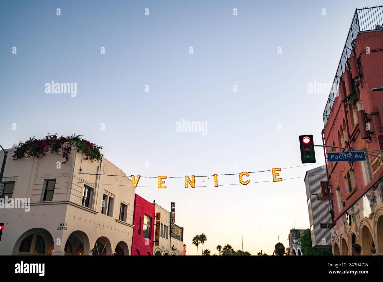 Signo de Venice Beach en Los Ángeles en California Foto de stock