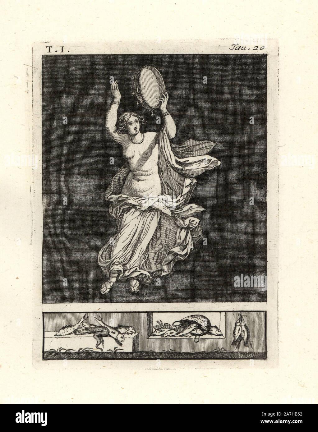 """Retira la pintura de la pared de una habitación, posiblemente un triclinium o comedor, en una casa de Pompeya en 1749. Muestra una bailarina bacchant golpeando un tímpano o pandero con su mano. Ella lleva un collar y pulseras, una fina túnica en blanco rayado con el rojo, el color de Baco. Grabado por Tommaso Piroli Copperplate desde su propio 'Antichita di Ercolano"""" (Antigüedades de Herculano), Roma, 1789. Pintor y grabador italiano Piroli (1752-1824) publicado en seis volúmenes entre 1789 y 1807 documenta los murales y bronces encontrados en Heraculaneum y Pompeya. Foto de stock"""