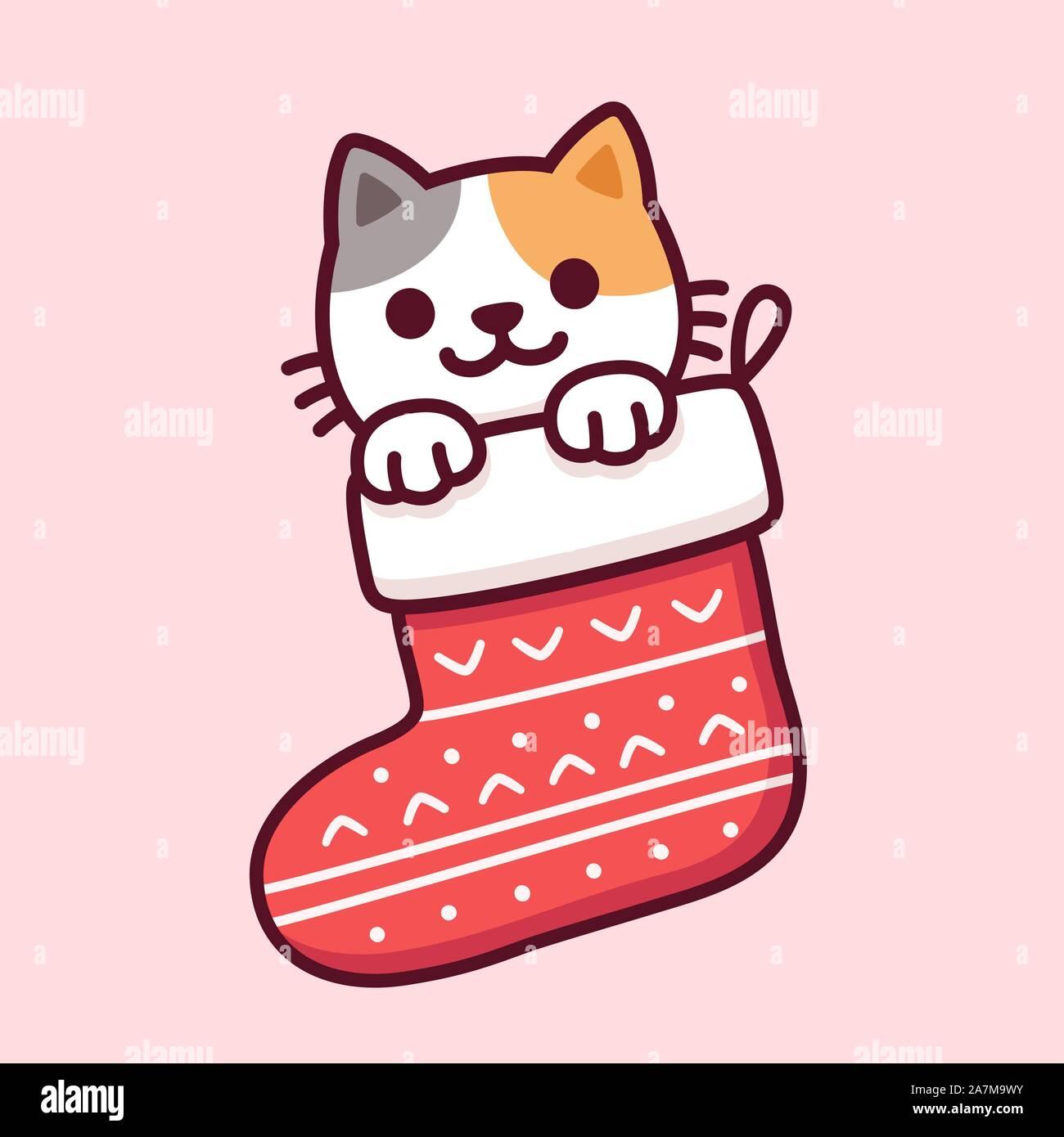 Lindo Gato De Dibujos Animados En La Calceta De Navidad Feliz