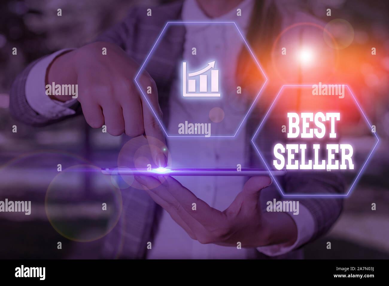 Escritura de texto Word best seller. Exhibición fotográfica de negocios nuevo libro u otro producto que ha vendido un gran número de copias Foto de stock