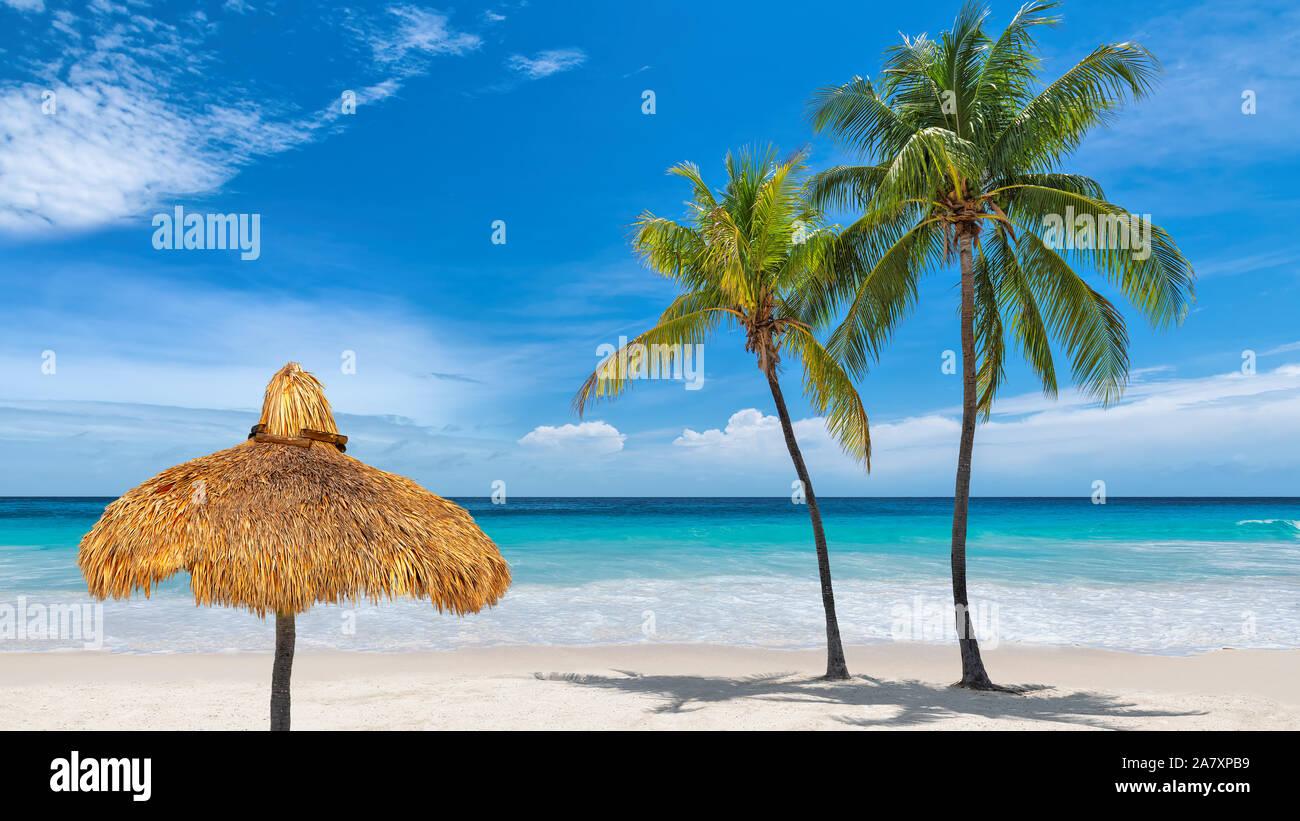 Sombrilla y palmeras en isla del Caribe Foto de stock