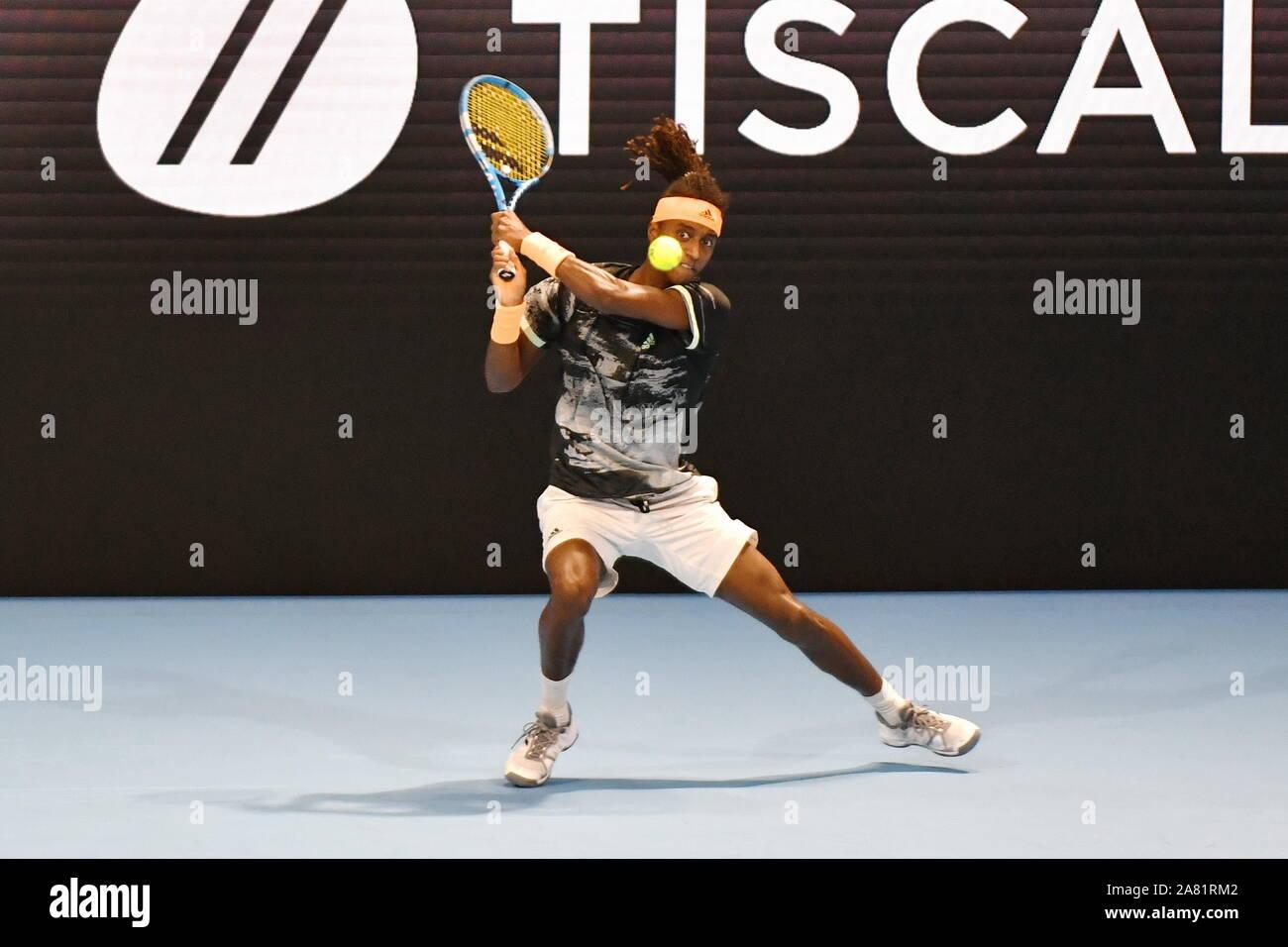 Milán, Italia, 05 Nov 2019, Mikael ymer durante la próxima generación finales ATP - Torneo ronda - Ugo Humbert vs Mikael Ymer - Tenis Internationals - Crédito: LPS/Alessio Tarpini/Alamy Live News Foto de stock