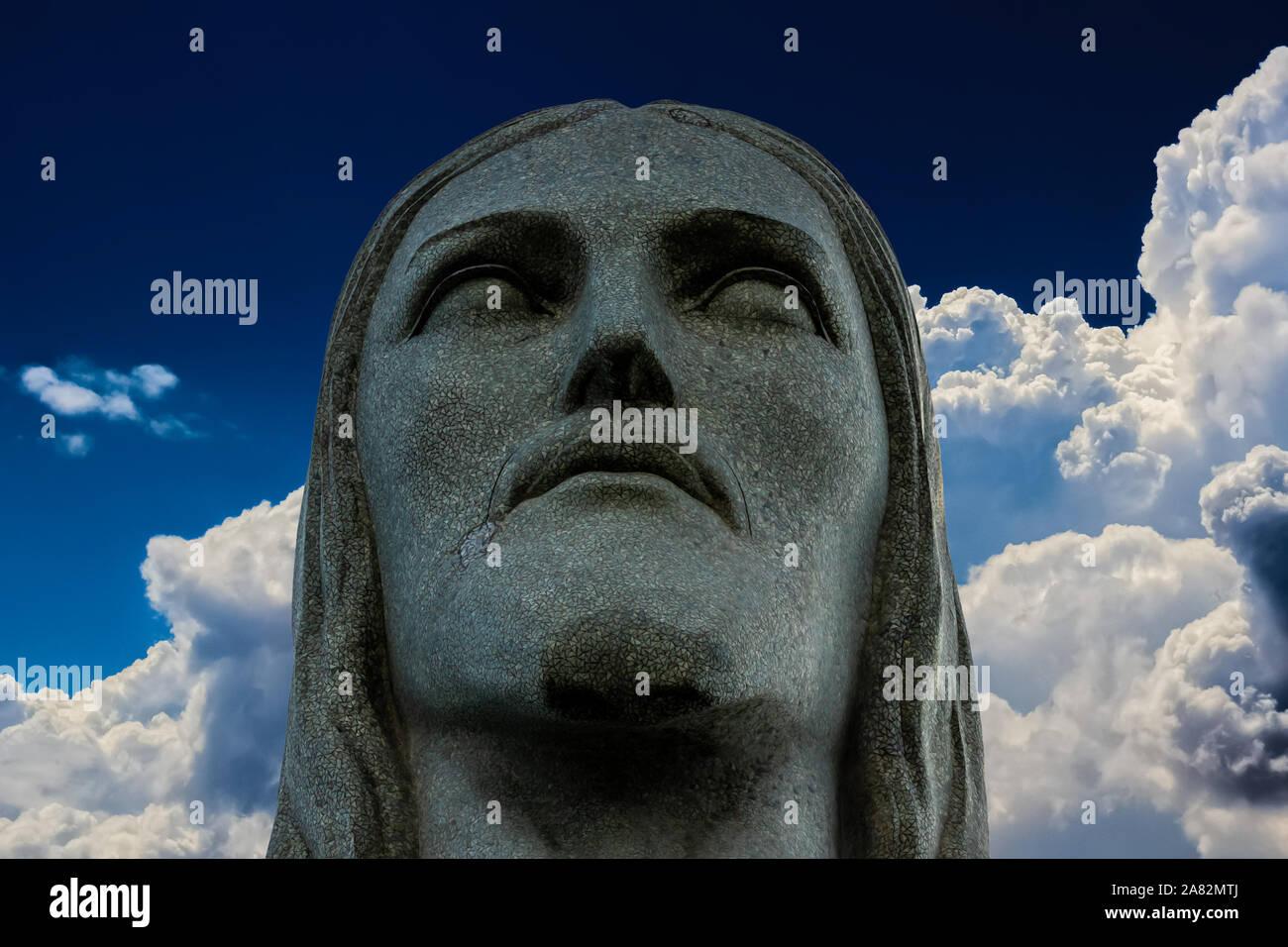 La estatua de Cristo Redentor en Río de Janeiro, el Cristo Redentor, la estatua de Jesús, estatuas de Brasil en América del Sur,las nuevas siete maravillas del mundo, Jesús Foto de stock