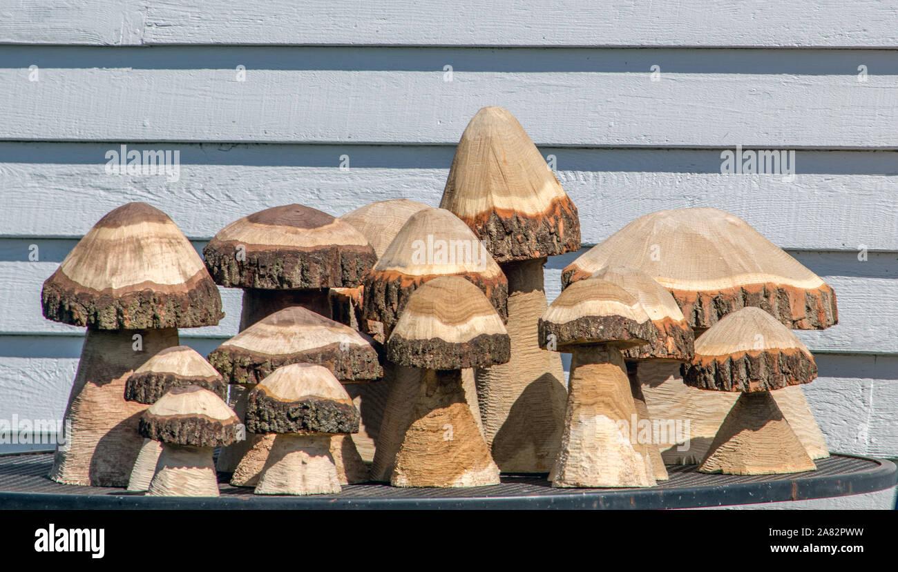 Lindo setas talladas en madera que se realizan con una sierra de cadena, y es perfecto para un jardín al aire libre Foto de stock