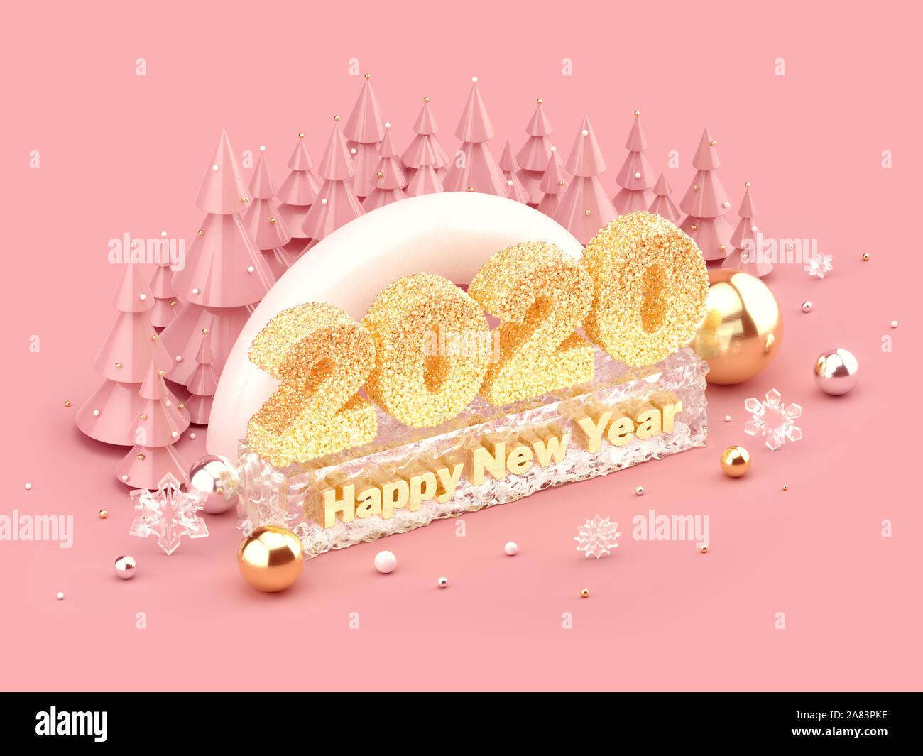 Feliz Año Nuevo 2020 ilustración isométrica con brillantes letras doradas, Feliz Año Nuevo deseos, y árboles de Navidad. 3D rendering. Foto de stock