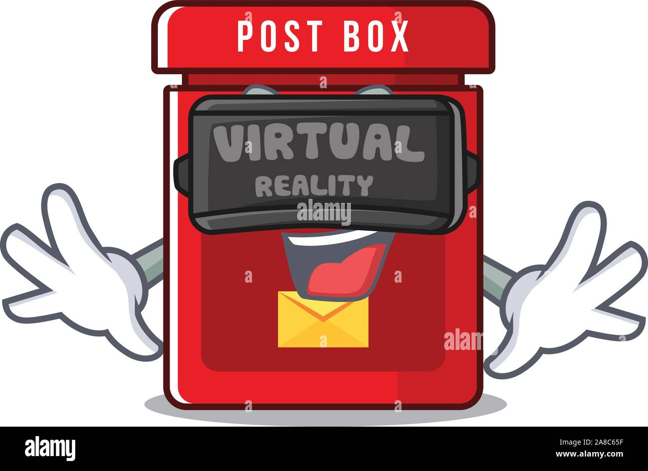 Buzón con un vector de la mascota de realidad virtual Ilustración del Vector