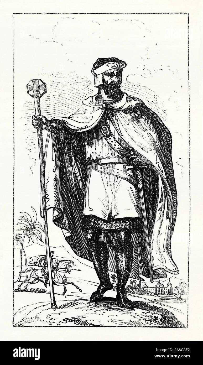Un grabado antiguo miembro de los Caballeros Templarios c. 1200. Templarios usaban mantos blancos y batas y vestía y lleva el distintivo de la cruz roja. Estaban entre los más cualificados unidades de combate de las Cruzadas. Foto de stock